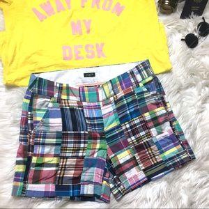 J. CREW Multicolored Madras Plaid City Fit Shorts